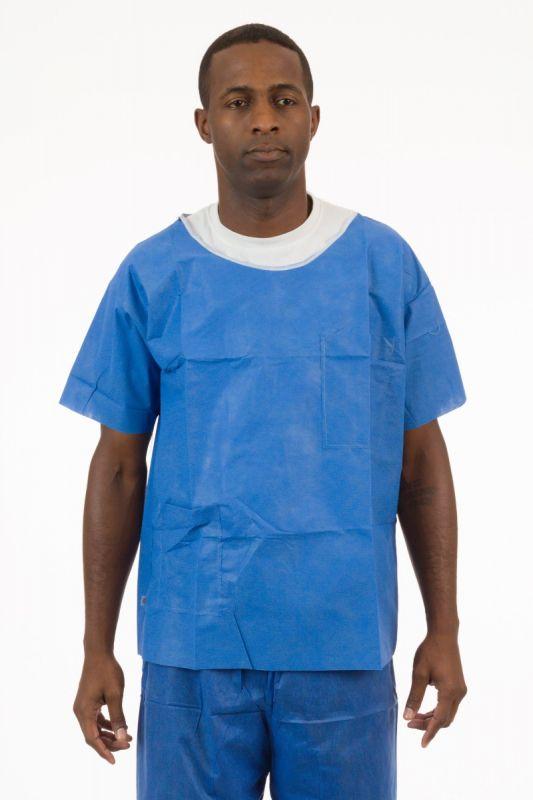 828cf1d780d Soft Scrubs™, Denim Blue Soft Scrub Short Sleeve Shirt, Round Hemmed Neck,