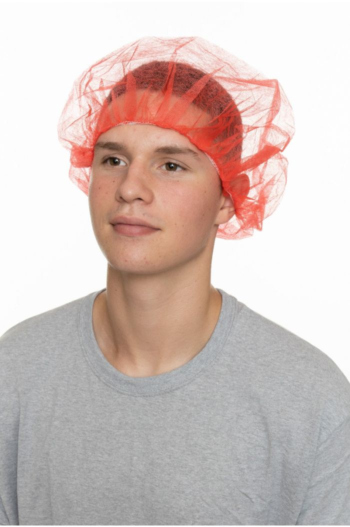 """Polypropylene Pleated Bouffant, Red, 24"""""""