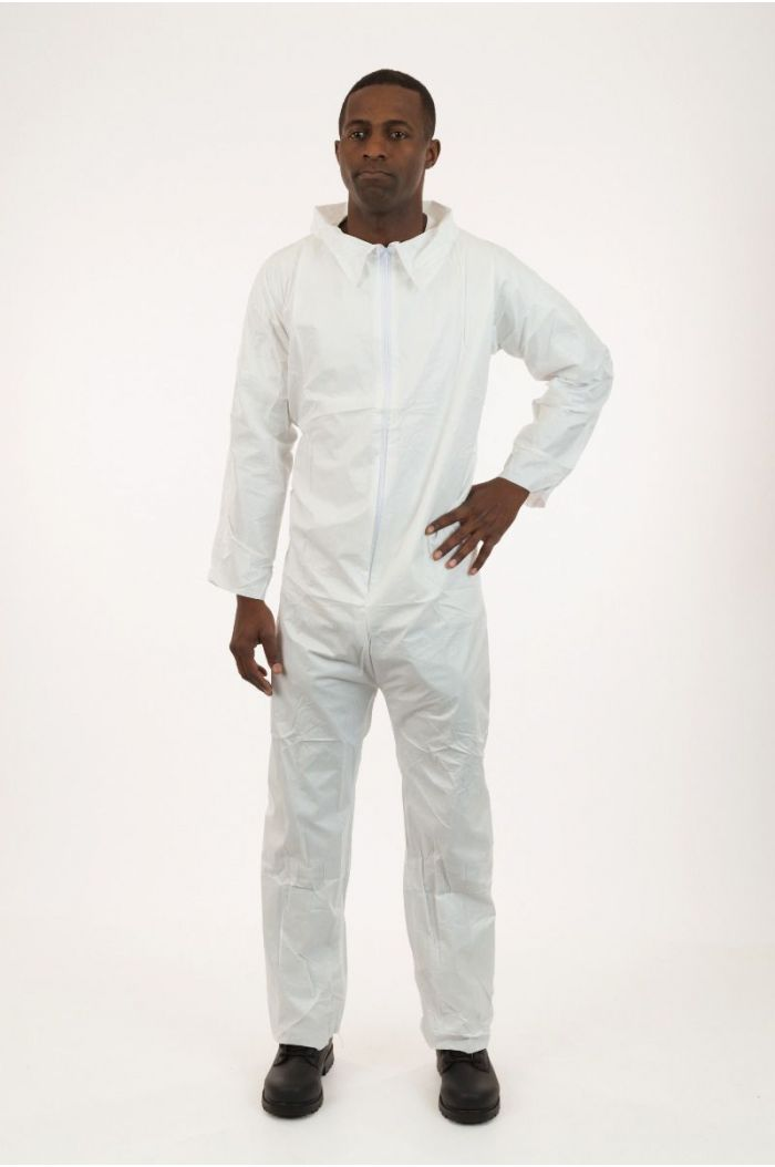 Lightweight SMS Coverall, White, Elastic Wrist, Open Ankle