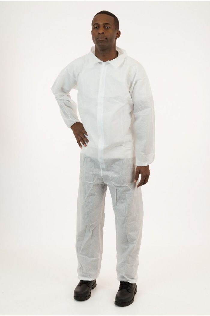 Lightweight SMS Coverall, White, Elastic Wrist & Ankle