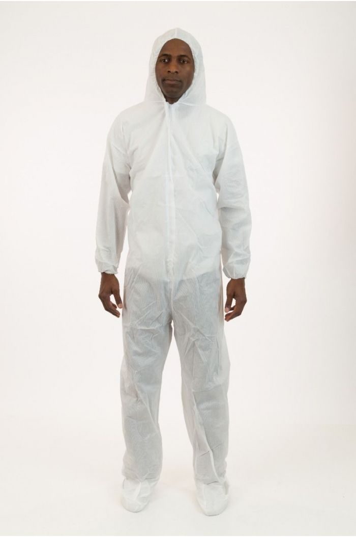 Lightweight SMS Coverall with Attached Hood & Boot, White, Elastic Wrist