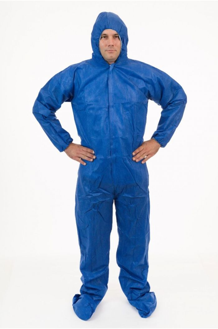 Lightweight Blue SMS Coverall with Attached Hood & Boot, Blue, Elastic Wrist