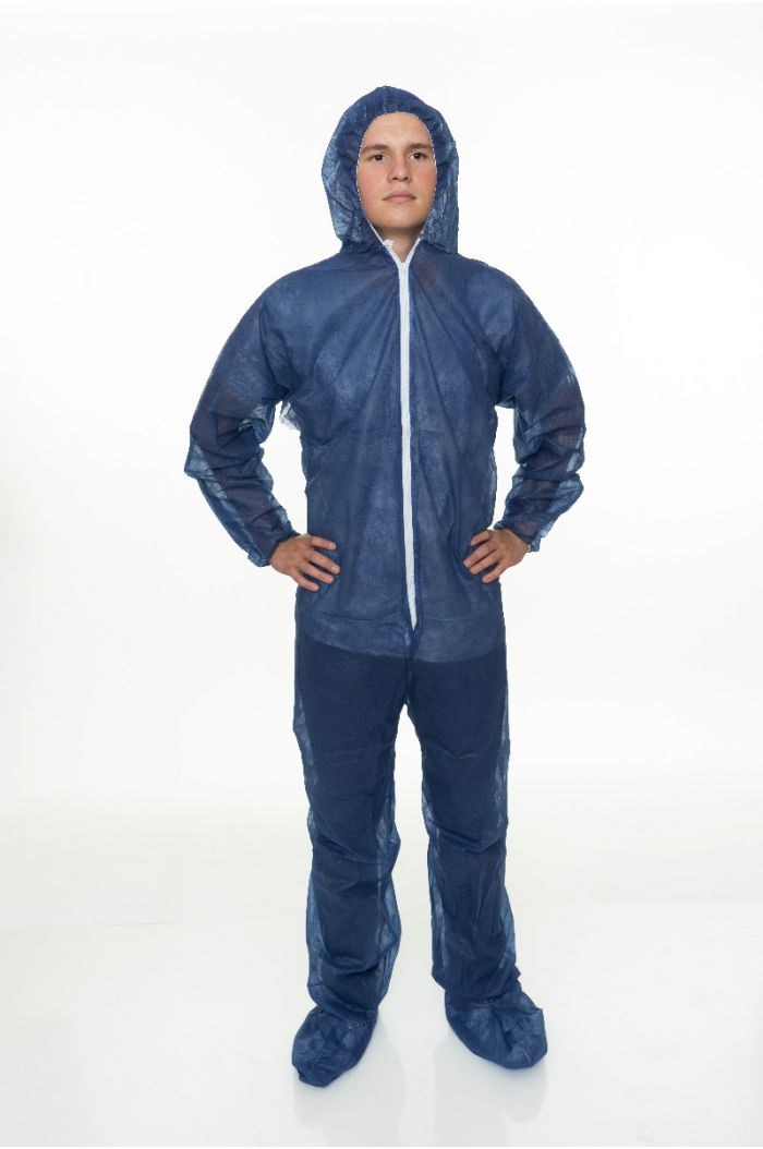 Blue Polypropylene Coverall with Hood and Boot